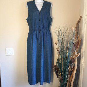 Lands' End lightweight denim sleeveless dress 12